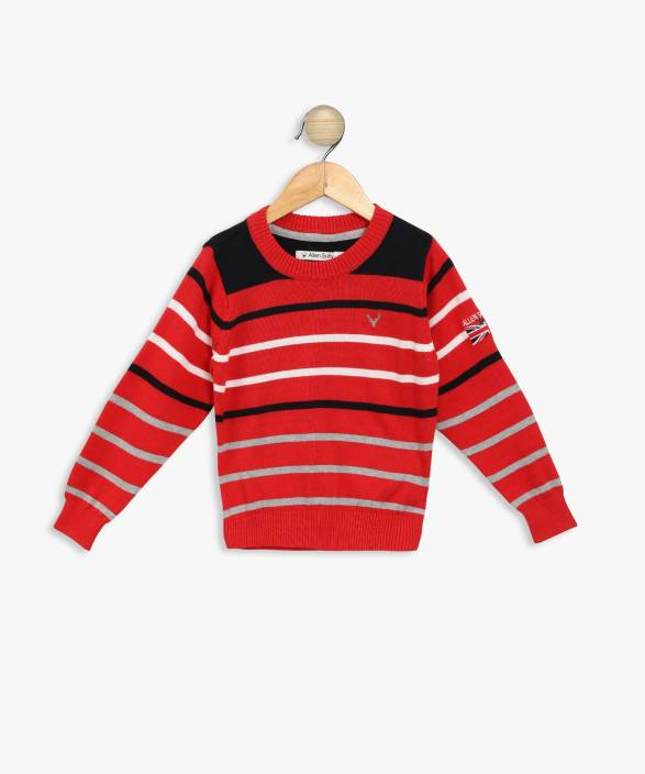 428224a91 Allen Solly Striped Round Neck Casual Boys Red Sweater - Buy Allen ...