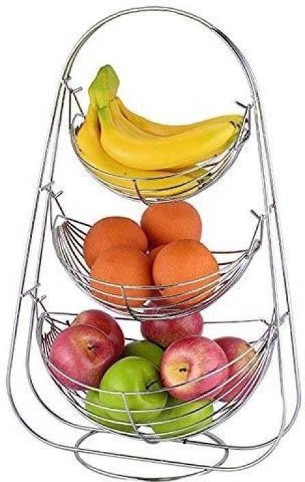 Impulse 3 Tier Fruit Vegetables Basket For Kitchen Fruit Basket For Dining Table Fruit Vegetable Storage Basket Stainless Steel Fruit Vegetable