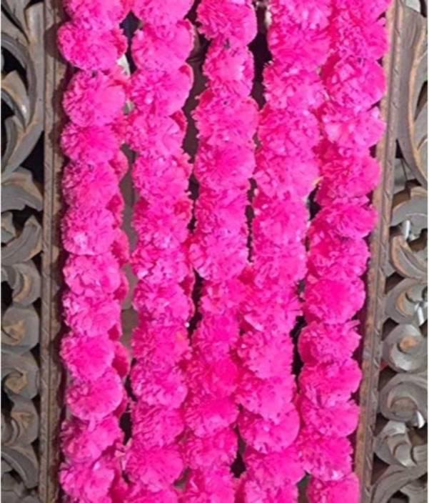 Satyam Kraft RE USABLE ARTIFICIAL MARIGOLD FLUFFY FLOWERS GARLANDSgenda Phool Toran FOR Diwali Decoration Home Decor Collection Wedding