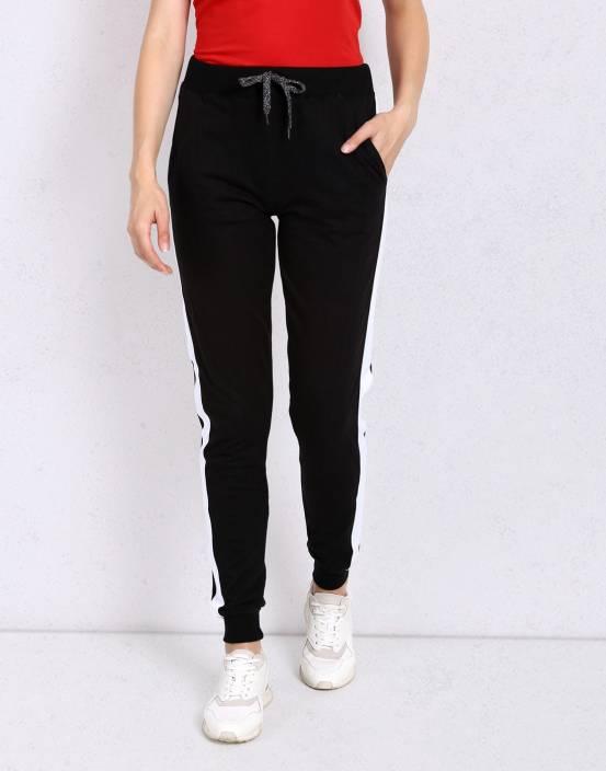 Metronaut Solid Women Black, White Track Pants