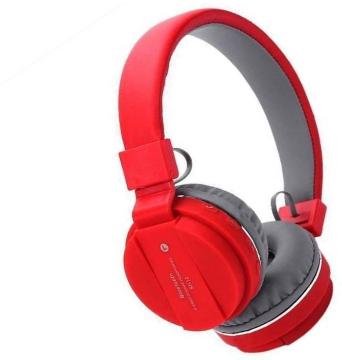 cf6b92465b6 BIRATTY Sh12 Wireless Bluetooth Headphone with MP3, FM & TF Card Slot Bluetooth  Headset with Mic (Red, On the Ear)