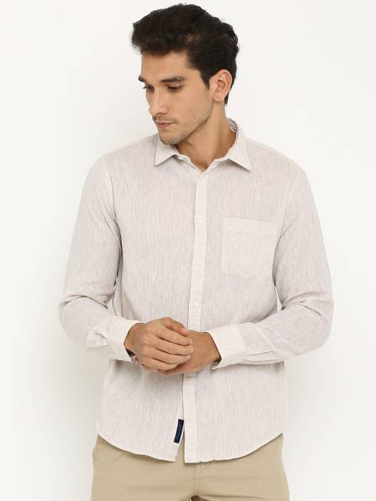 CAVALLO by Linen Club Men's Solid Casual White Shirt