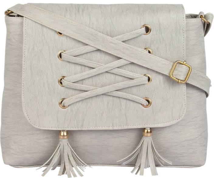 Govind Women Casual Grey PU Sling Bag