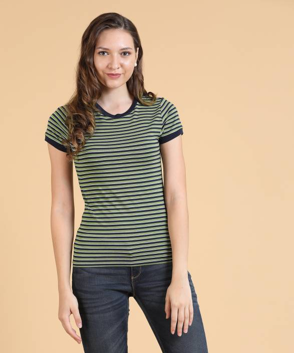 cf9fd2ee9a0 Forever 21 Casual Short Sleeve Striped Women s Green