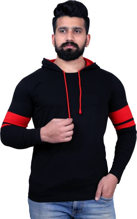 KAY S APPARELS Solid Men's Hooded Black, Red T-Shirt