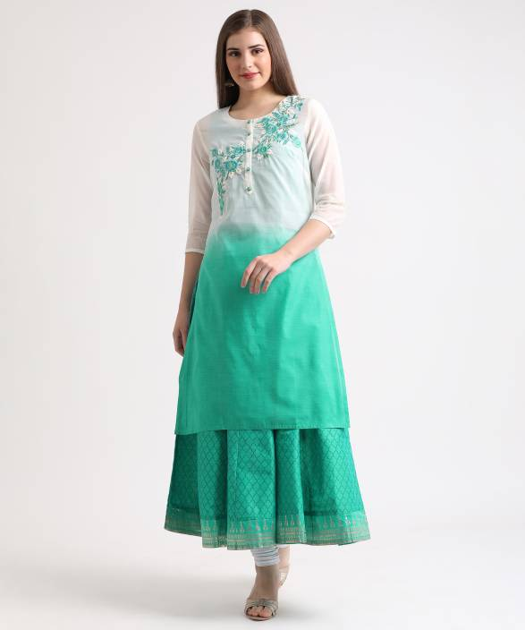 38c63e8b5 Trishaa by Pantaloons Casual Embroidered Women Kurti - Buy Trishaa ...