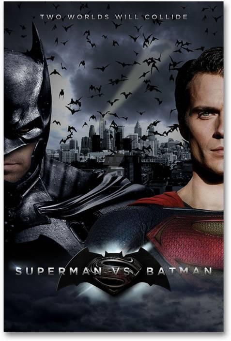 05cfafb81 Wall Poster - Batman vs Superman - HD Quality Movie Poster Paper Print (18  inch X 12 inch