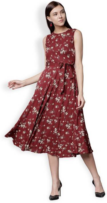 be5bb8baf Tokyo Talkies Women A-line Maroon Dress - Buy Tokyo Talkies Women A-line  Maroon Dress Online at Best Prices in India
