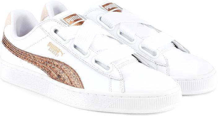 reputable site 264c4 a5e65 Puma Basket Heart Glitter Wn s Puma White-Ros Sneakers For Women