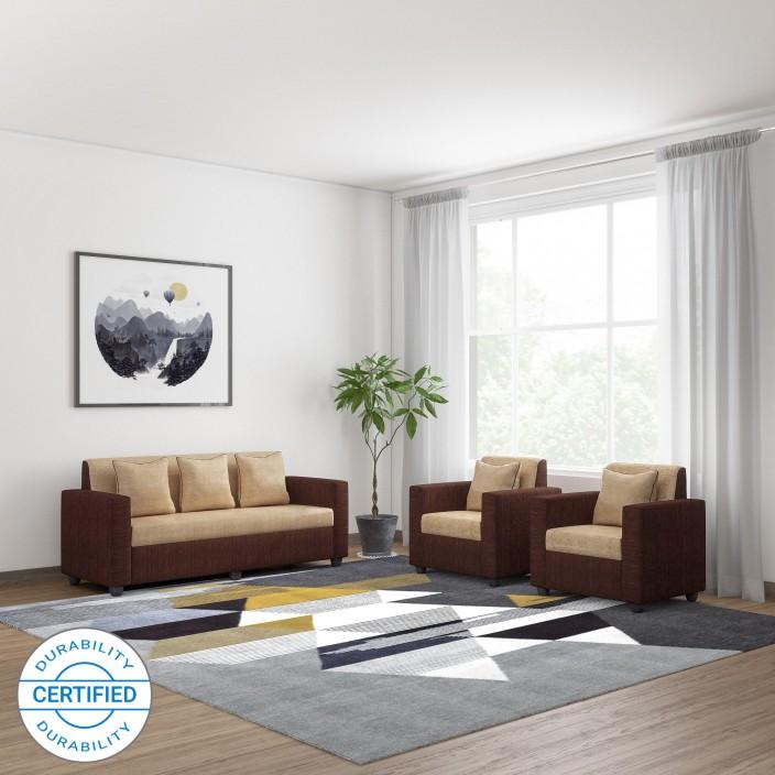 bharat lifestyle tulip311 fabric 3 1 1 brown sofa set price in rh flipkart com
