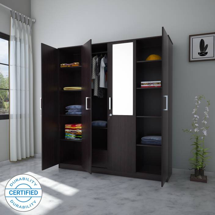 06122adc916 Flipkart Perfect Homes Julian Engineered Wood 4 Door Wardrobe (Finish Color  - Wenge