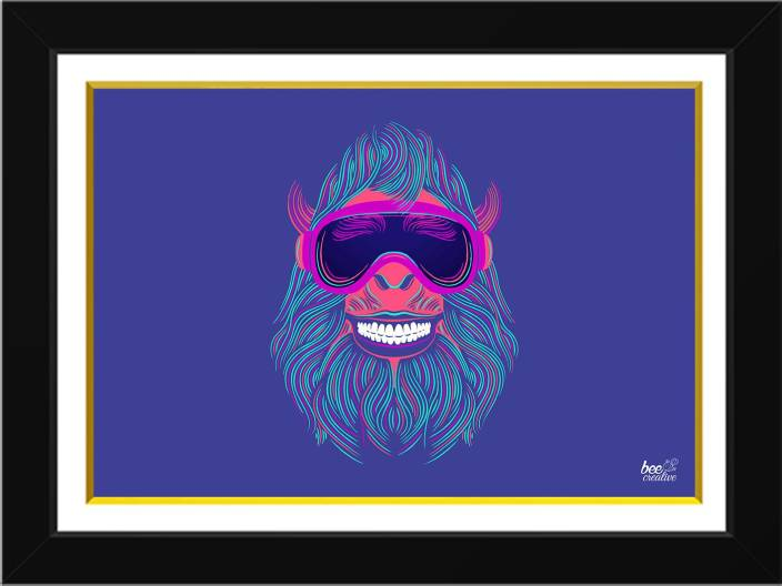 Bee Creative Funky Monkey 18 14 Inches Black Frame Ink 14 Inch X