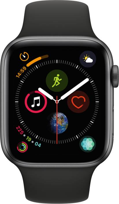 b3a85fc75e1ff Apple Watch Series 4 GPS + Cellular 44 mm Space Grey Aluminium Case with  Black Sport Band (Black Strap Regular)