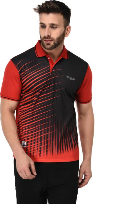 1e9140414 GRAND STITCH Abstract Men Polo Neck Red, Black T-Shirt - Buy GRAND STITCH  Abstract Men Polo Neck Red, Black T-Shirt Online at Best Prices in India ...