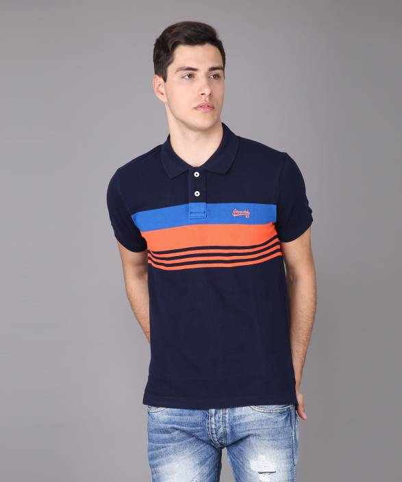 c2dfb735 Aeropostale Striped Men's Polo Neck Blue T-Shirt - Buy Aeropostale ...