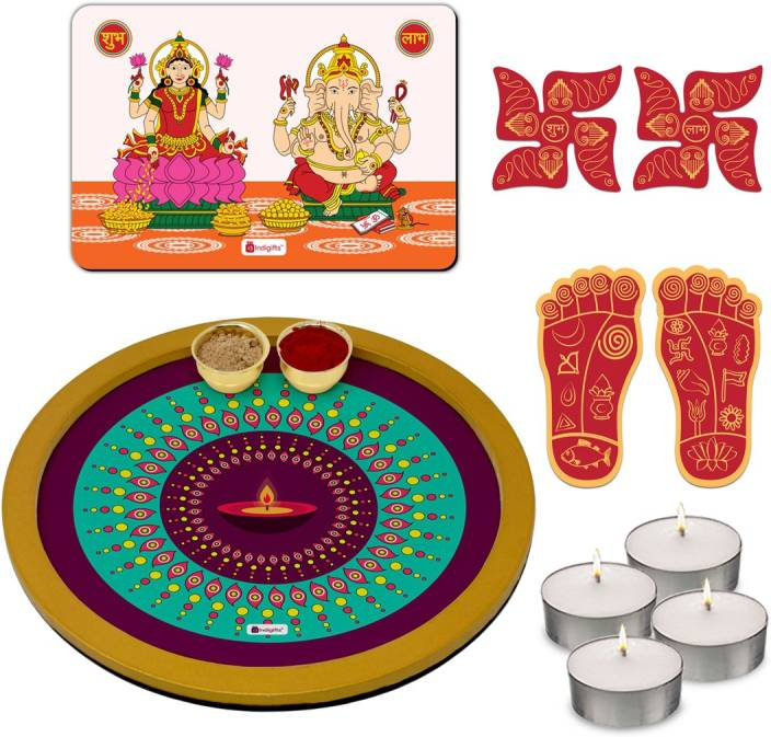 Indigifts Puja Thali, Diwali Gift Items, Gifts For Family And Friends, Pooja Thali Set, Puja Plate, Wall Frames_D-CM100-ETN18015 Wooden (1 Pieces, Purple)