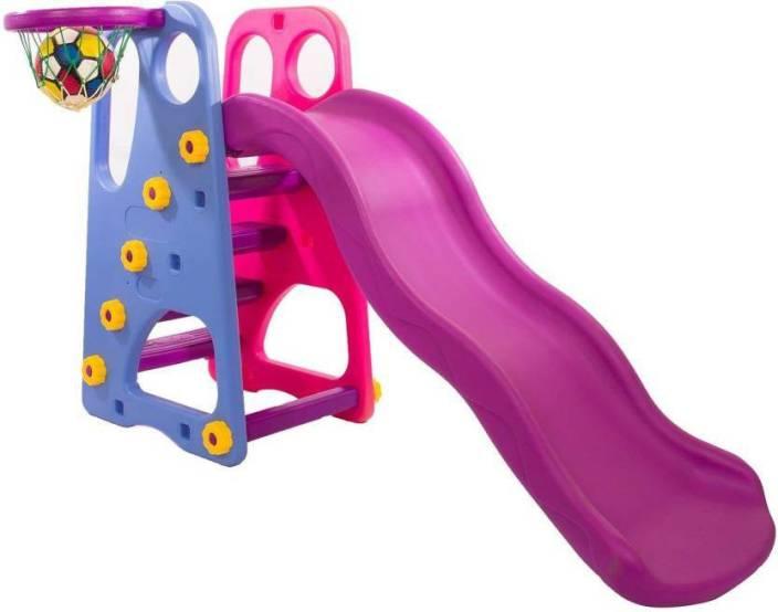 f1f4f26b Baybee Folding Slide and Basketball Stand Set | First Slide Plastic Play  Climber | Basketball Hoop Adjustable Height | Junior ...