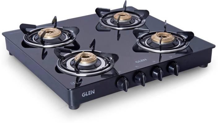 Glen 4 Burner Gas Stove 1043 Gt Br Black Cooktop Gl Manual Burners