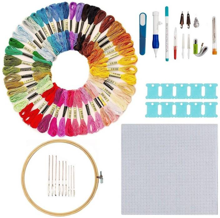 Aeoss Hand Embroidery Starter Kit, 50 Premium Rainbow Color Embroidery Floss, Craft Cross Stitch Threads Tool Including Magic Pen, Bamboo Embroidery Hoops for DIY Sewing Knitting Knit Crochet