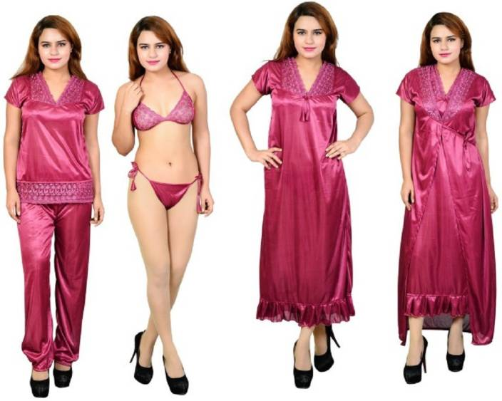 9ddeeba8d21 Satin Women Nighty Set - Buy Satin Women Nighty Set Online at Best ...
