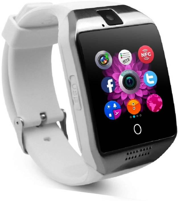 db9c85c05 CALLIE q18 smartwatch with all android features silver Smartwatch (White  Strap free size)