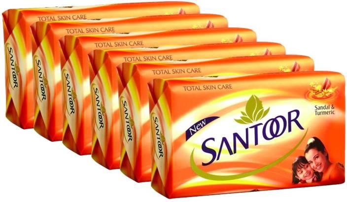 Health & Beauty pack Of 8 Santoor Total Skin Care Sandal And Turmeric Soap Bathing Bar 100g