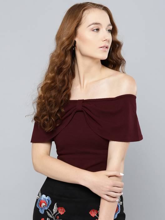 Veni Vidi Vici Casual Short Sleeve Solid Women's Black Top