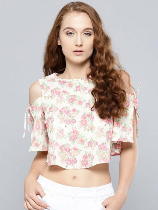 Veni Vidi Vici Casual Cold Shoulder Floral Print Women's White Top