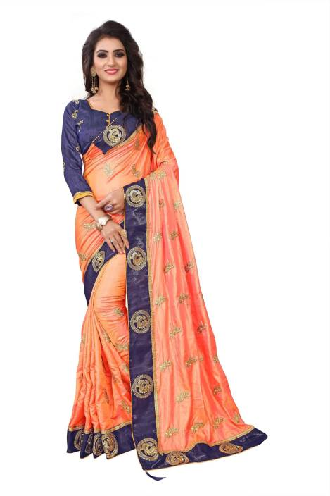 1ba4c0ae7f73de Kuki Embroidered Fashion Georgette, Cotton, Silk Saree (Orange, Blue)