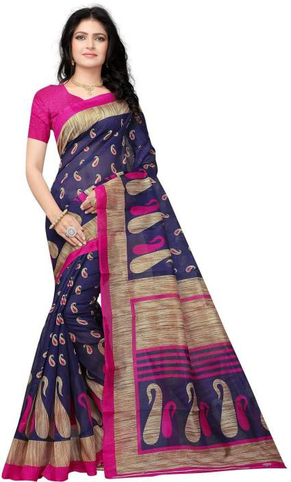 Buy Vimalnath Synthetics Printed Kota Doria Kota Silk Dark Blue