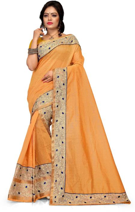 Skiran's Embroidered Mekhela Chador Cotton Polyester Blend Saree