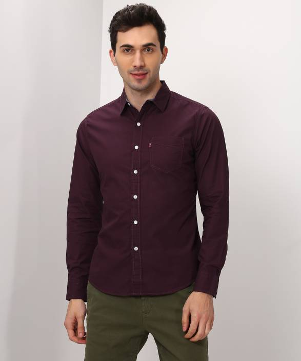 76deed87d012 Levi s Men Solid Casual Maroon Shirt - Buy Maroon Levi s Men Solid Casual Maroon  Shirt Online at Best Prices in India