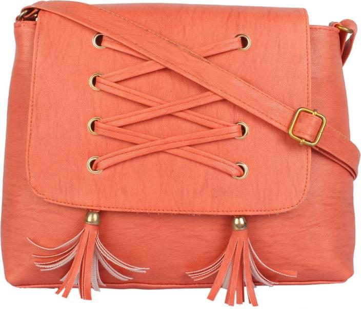 Govind Women Casual Orange PU Sling Bag