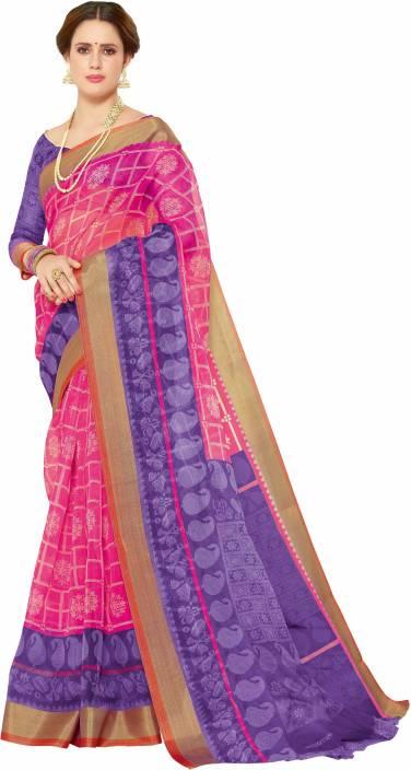 e5a1a0352f Buy Miraan Printed, Paisley Daily Wear Organza Pink, Purple Sarees ...