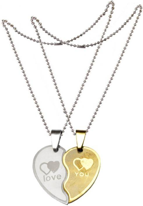 5a5a174320 Men Style New Couple Lovers Heart Love You Jewelry For Friendship Gift (2  pieces - his and her) SPn005064 Stainless Steel Locket Set Price in India -  Buy ...