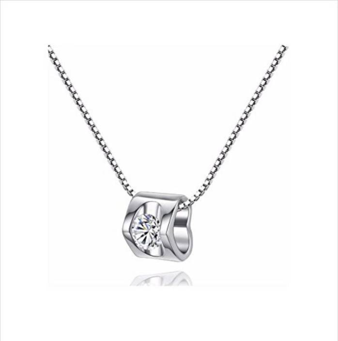 975036720 MYKI High Quality Solitaire White Gold Plated Hollow Heart Necklace Heart pendant  Gold-plated Swarovski Zirconia Sterling Silver Pendant Price in India ...