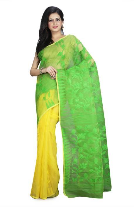 72cc390ca3 Buy Rudrakshhh Self Design Jamdani Cotton Linen Blend Green, Yellow ...