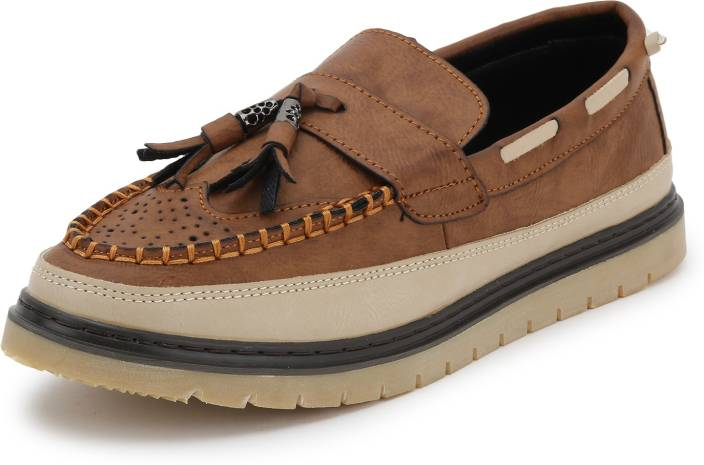 e808545ceccb Mr.SHOES FC757 BROWN MENS MOCCASINS LEATHER LOOK DRIVING LOAFERS SLIP ON  BOAT SHOES RIBBON TASSLE Casuals For Men (Brown)