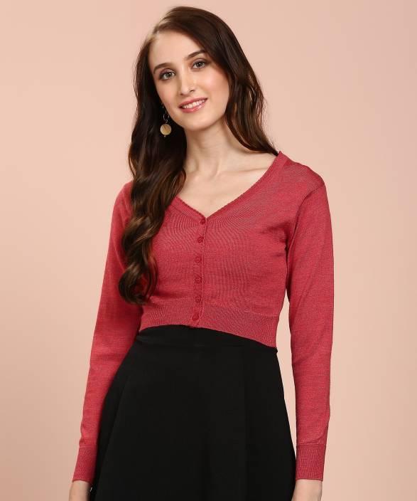 f61f7957a Monte Carlo Solid V-neck Casual Women Red Sweater - Buy Monte Carlo ...