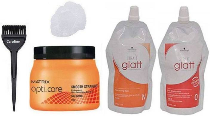 caroline Hair Brush&Matrix Smooth Straight Spa , Schwarzkopf Glatt O and N Straightener Hair Mask Cream, Shower Cap (Set of 5)