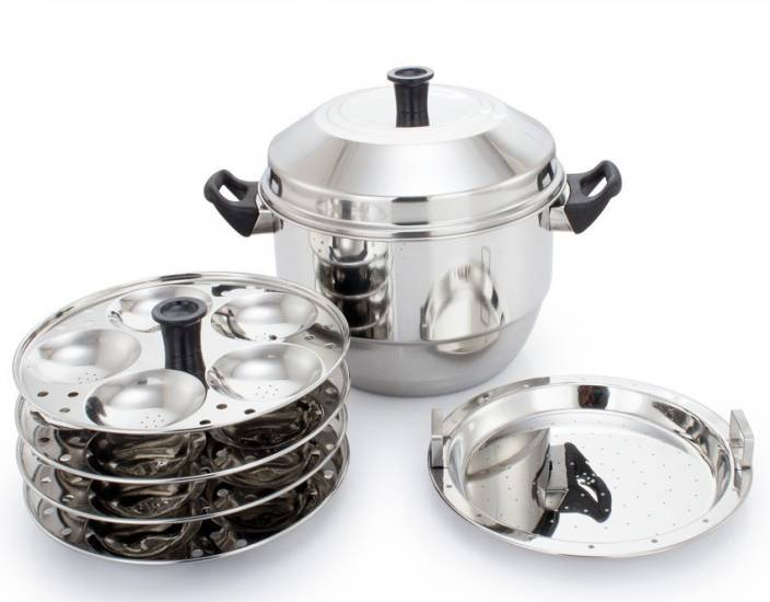 7e6aa34a89 Mitali Stainless Steel Idli Cooker/Maker/Steamer With 4 Idly Plates And 1  Steamer/Dhokla Plate (20 Idlis) Induction & Standard Idli Maker (4 Plates  ...