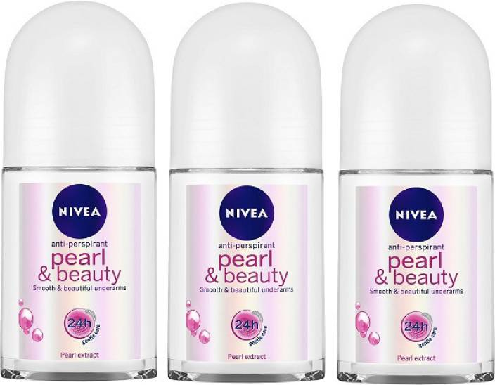 Nivea Pearl & Beauty Roll On 50 ml - Pack of 3 Deodorant Spray - For Women  (450 ml, Pack of 3)
