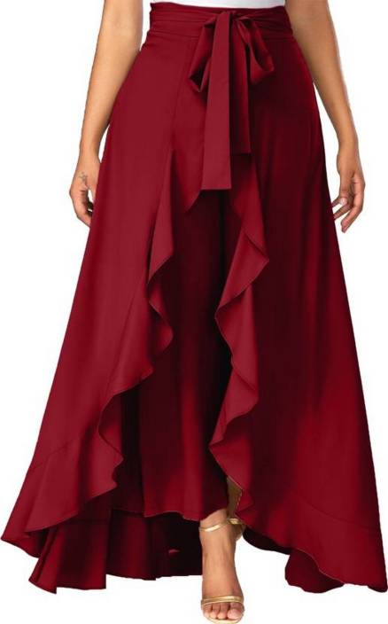 TANDUL Solid Women's Flared Maroon Skirt