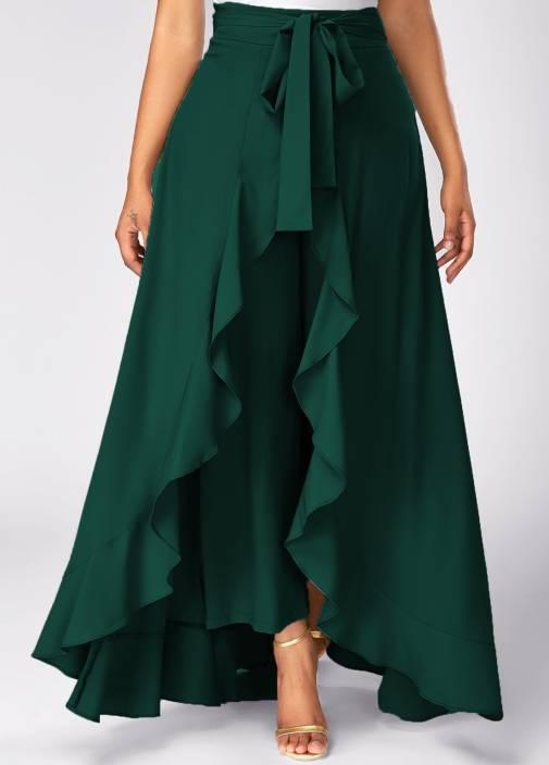 TANDUL Solid Women's Flared Dark Green Skirt
