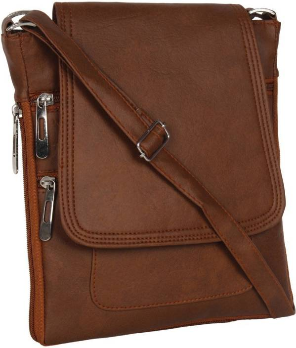 DnS Women Casual Brown Leatherette Sling Bag