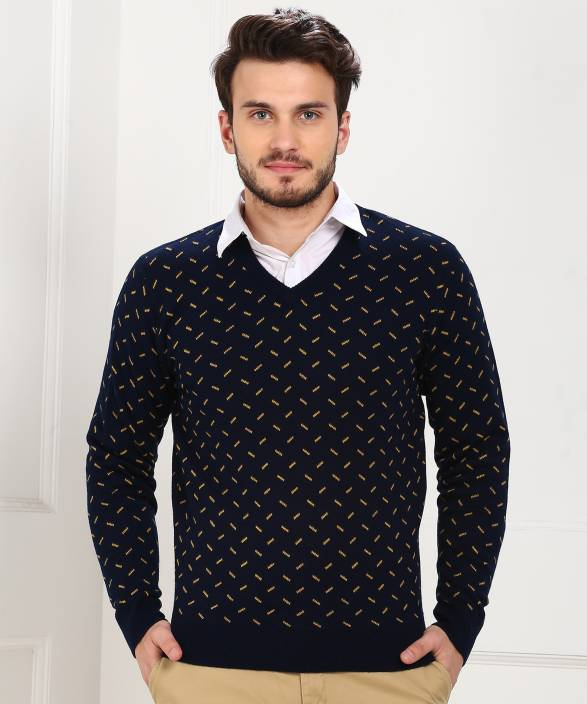 0cf5c8088ff Peter England Self Design V-neck Casual Men Dark Blue Sweater - Buy Peter  England Self Design V-neck Casual Men Dark Blue Sweater Online at Best  Prices in ...