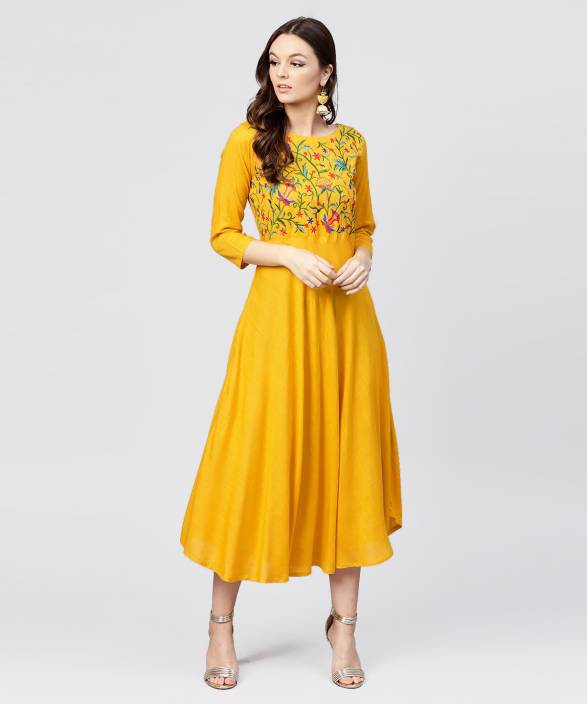 347269aec1 Aasi - House of Nayo Women s Maxi Yellow Dress - Buy Aasi - House of Nayo Women s  Maxi Yellow Dress Online at Best Prices in India
