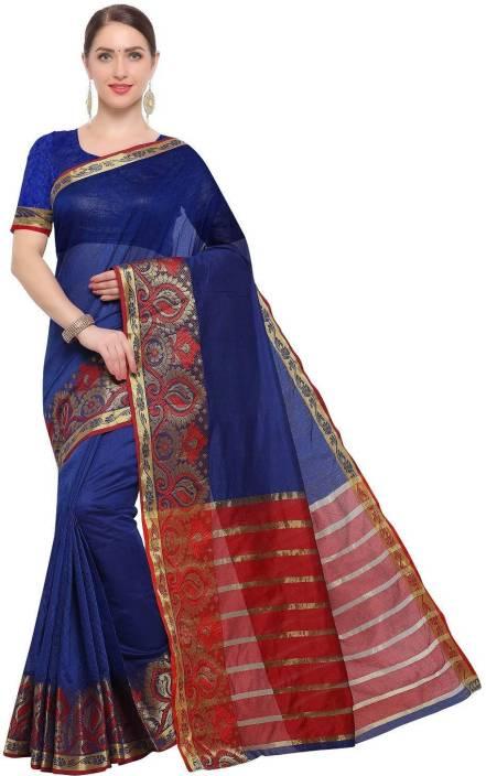 7057444d8c Buy PURVI Self Design Banarasi Cotton Silk Blue Sarees Online @ Best ...