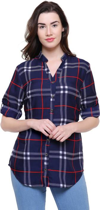2 Day Casual Roll-up Sleeve Checkered Women's Blue Top