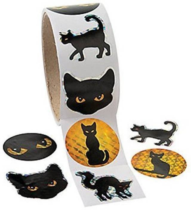Fun Express Black Cat Prism Halloween Roll Stickers ~ 100 Round 1 5